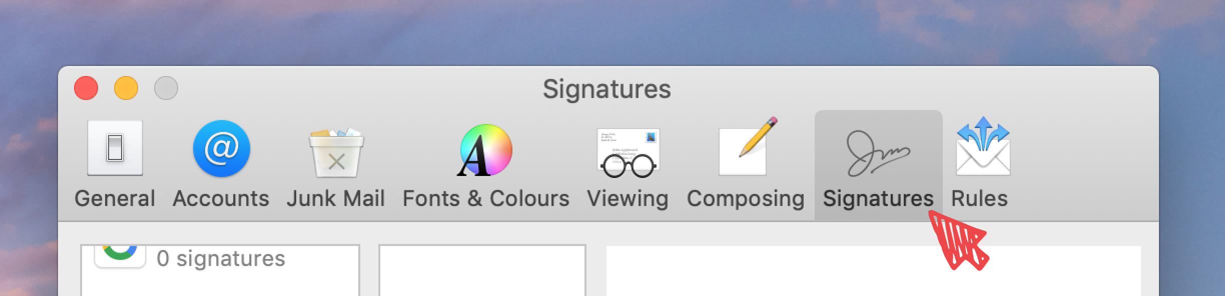 Screenshot showing how to set a new signature on Apple Mail for Mac - step 2