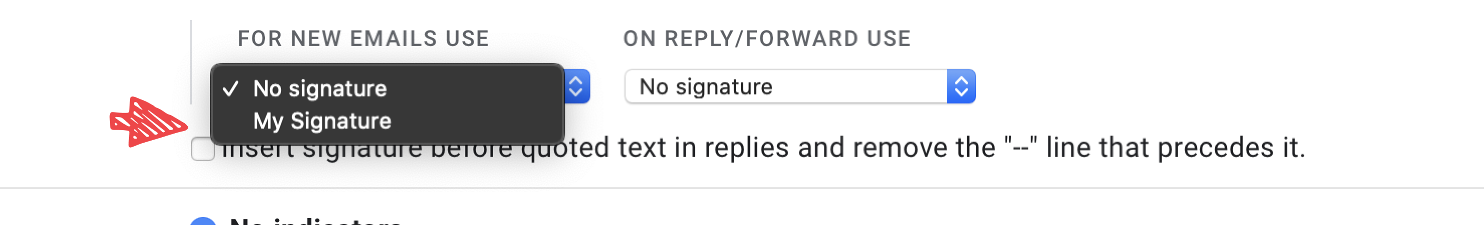 Screenshot showing how to set a new signature on gmail - step 6